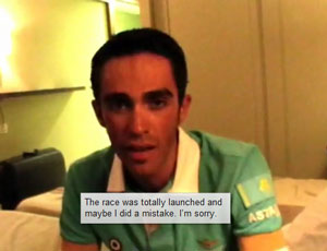 Alberto Contador apologizes for attacking Andy Schleck after the mechanical