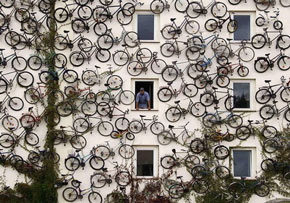 bike shop with 120 bikes on the facade