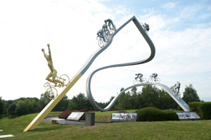 an awesome sculpture celebrates cycling on the Plateau de Beille