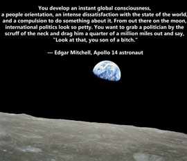 Apollo astronaut Edgar Mitchell on the triviality of politics