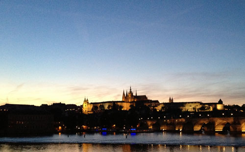 Prague Castle with St. Vitus Catherdral, and the Karlov Most in the foreground