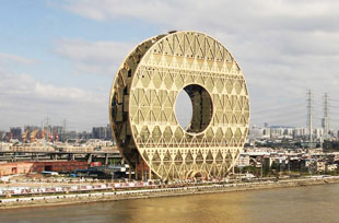 golden doughnut skyscraper in Guangzhou