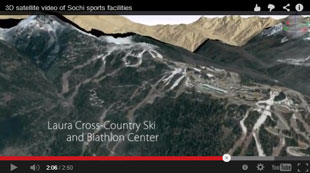 3D satellite flyover of the Sochi Olympic venues