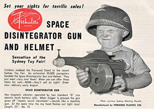 space disintegrator gun and helmet