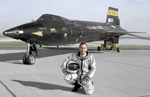 X-15 and Pete Knight, holders of fastest manned spacecraft record