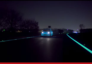 glow-in-the-dark Nissan Leaf on Holland's glowing smart highway