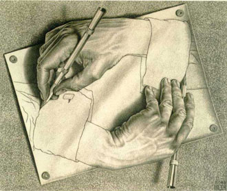 Escher: Drawing Hands aka C compiler
