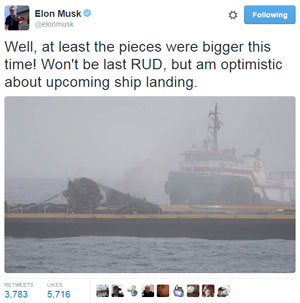 Elon Musk re SpaceX Jason-3 mission landing