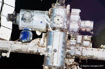 Bigelow Aerospace expandable habitat, attached to the ISS