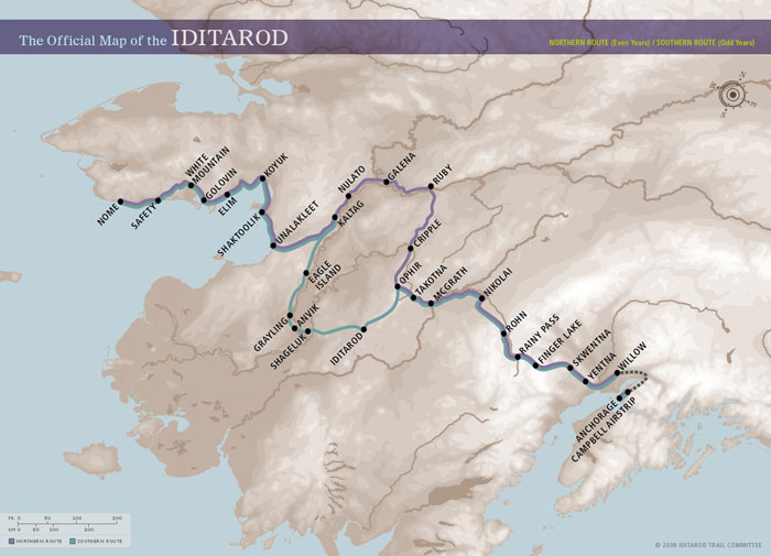 Iditarod Map, 2016 will take Northern Route (purple). Click to enbiggen!