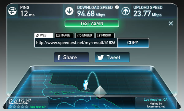 Speedtest of Time Warner cable