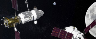 NASA fantasy: a moon-orbiting spaceport
